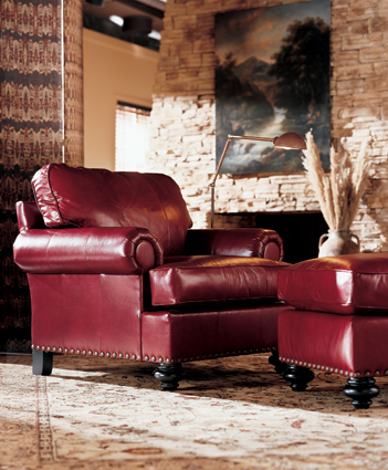 Henredon, Fireside Collection, Red Leather Club Chair
