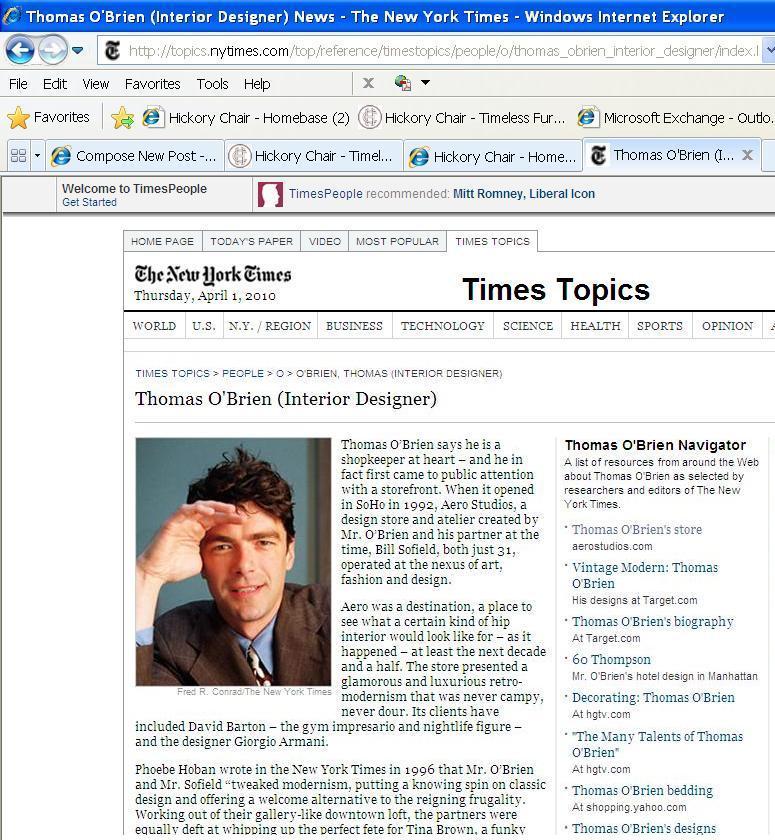 Thomas O'Brien NY Times
