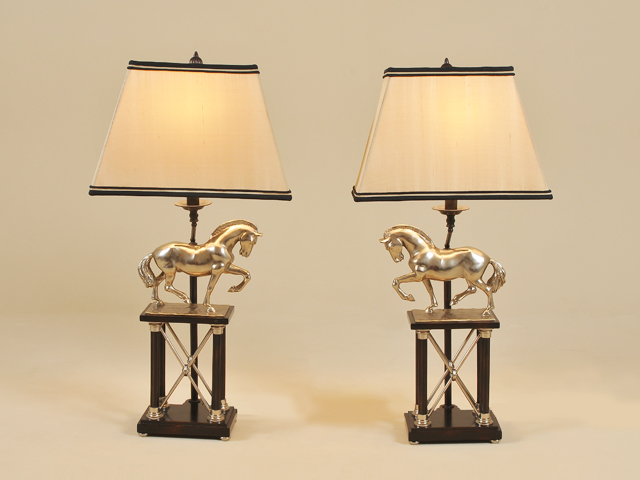 Maitland smith lighting and accessories this handsome pair of vintage silver finished brass table lamps with horse motif are the perfect complement to classic forms the black and gold shades are aloadofball Image collections