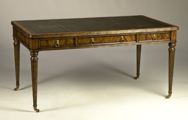 Genial Love This Oval Desk With Rubbed Walnut Finish And Black Leather Inlay With  Gold Tooling And Brass Accents.