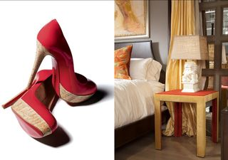 Upholstered table and shoes