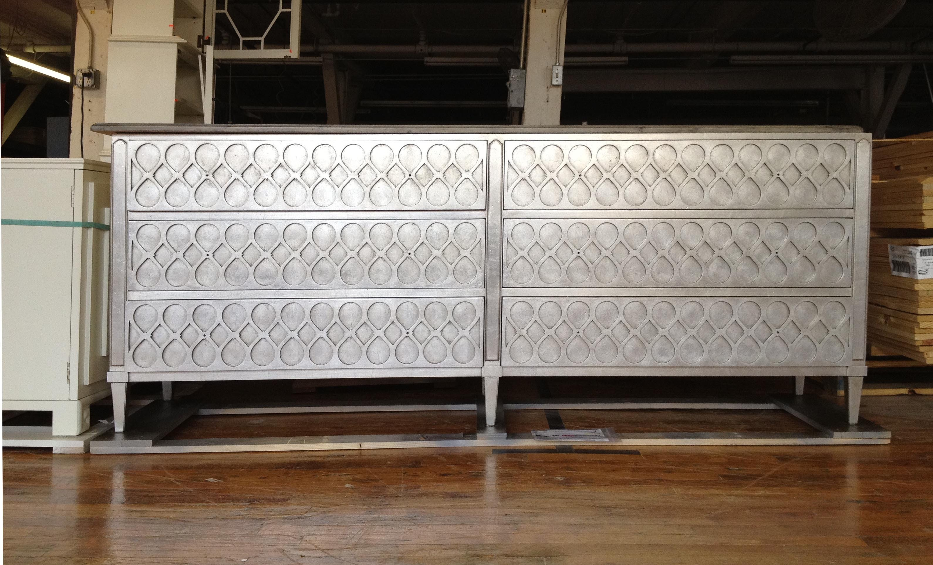 9772 Special Construction Murano Double Chest Silver Leaf And Rustic Top