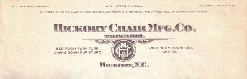 Hickory Chair Mfg Co Letterhead