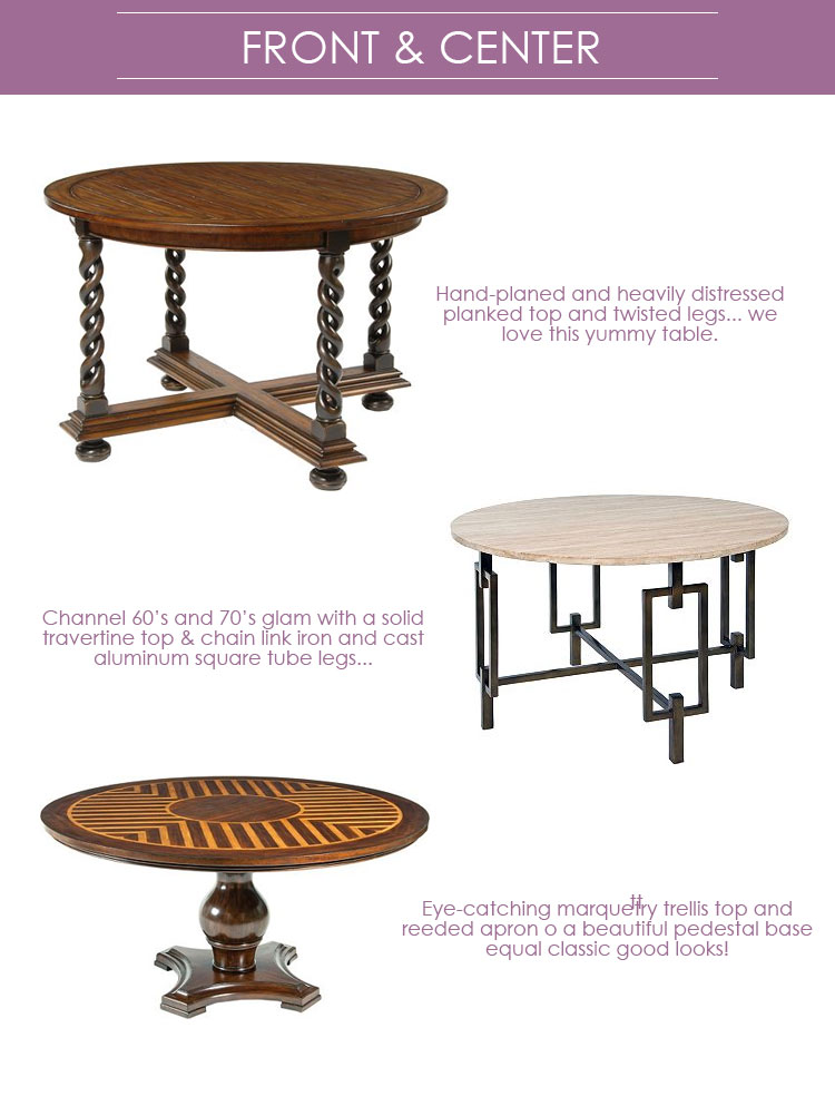Gathering Around A Round Table Is Such A Simple Pleasure. We Love The  Versatility Of Our Generously Sized Center Tables. In A Large Foyer You Can  Top With ...