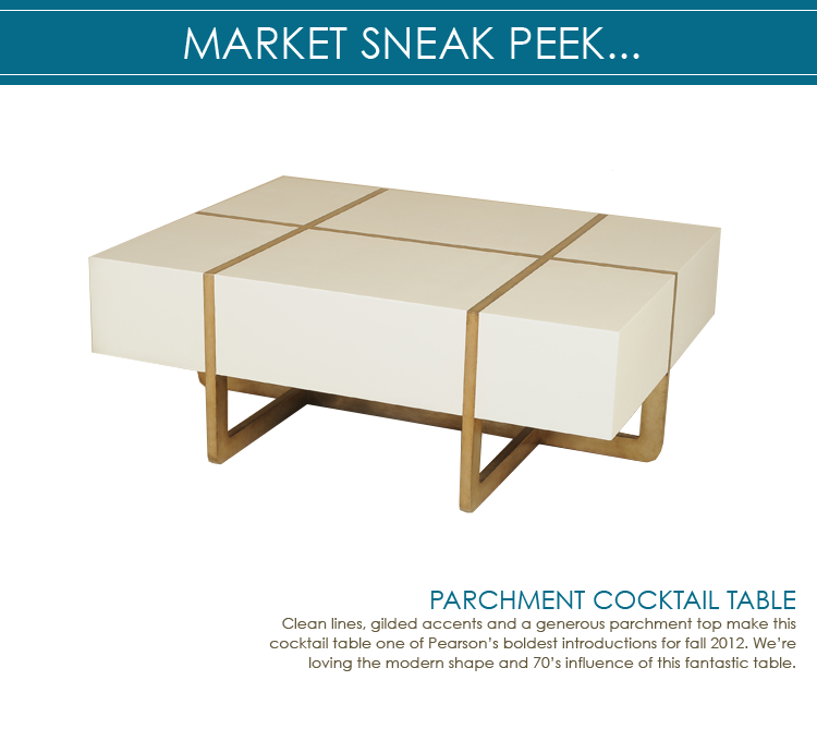 market sneak peek: parchment & gilded cocktail table - pearson