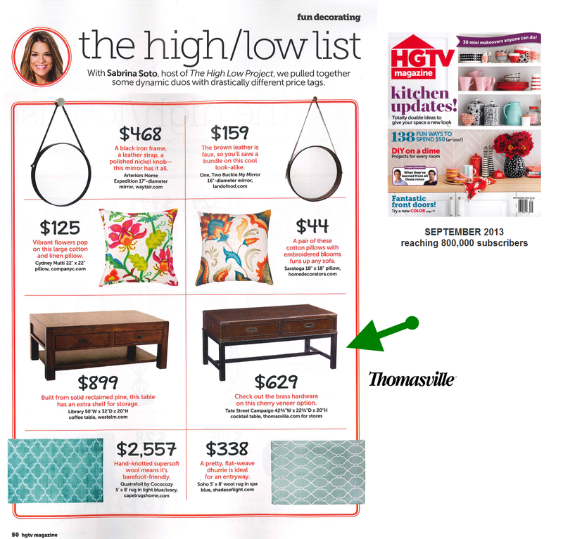 Thomasville featured in HGTV Magazine - Heritage Home Group