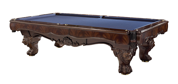 This Pool Table Is A Beautiful Piece Of Furniture With Hand Carving,  Leather Pockets And Inlaid Mother Of Pearl And Brass Accents.